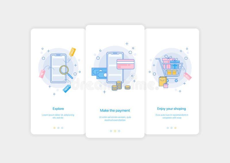 Pantallas móviles de la introducción del app Diseño plano onboarding del ejemplo del vector ilustración del vector
