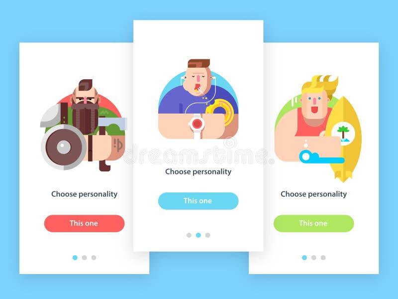 Pantallas móviles del app con los caracteres del avatar libre illustration
