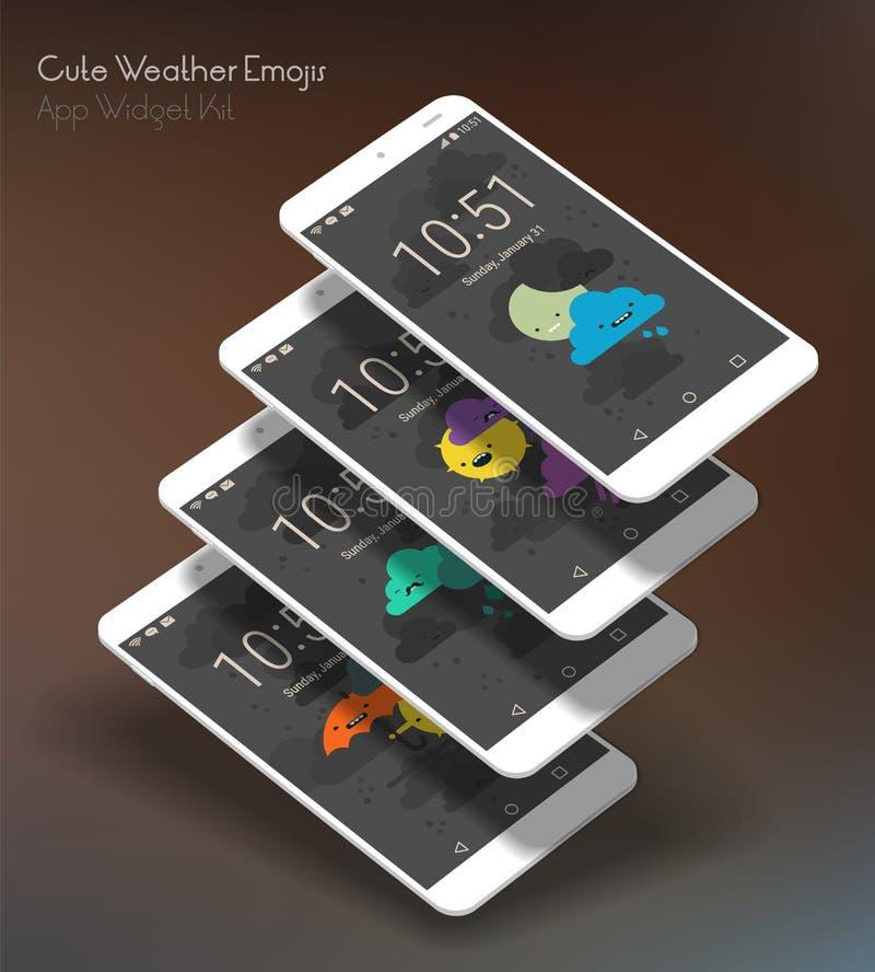 Pantallas moile del app del tiempo lindo en maquetas del smartphone 3d ilustración del vector