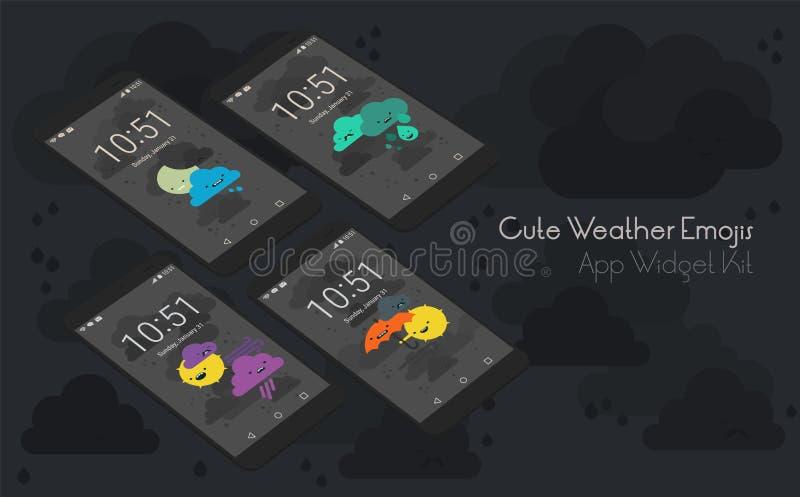 Pantallas moile del app del tiempo lindo en maquetas del smartphone 3d stock de ilustración