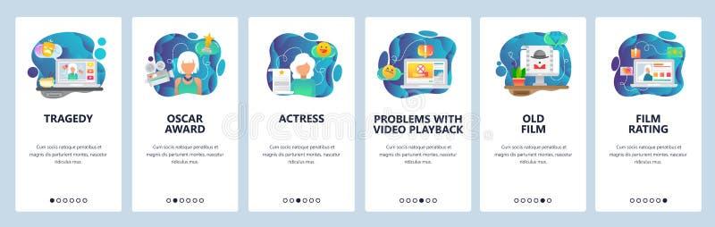 Pantallas onboarding del app móvil Vídeo, cine y actriz en línea de la película que fluyen Plantilla de la bandera del vector del ilustración del vector