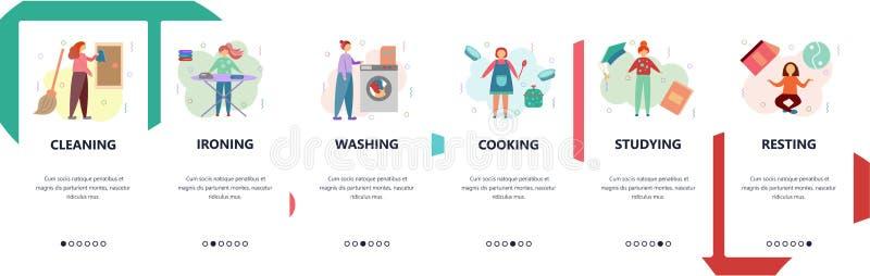 Pantallas onboarding del sitio web Quehacer doméstico, limpieza, el lavarse, cocinando Plantilla de la bandera del vector del men ilustración del vector