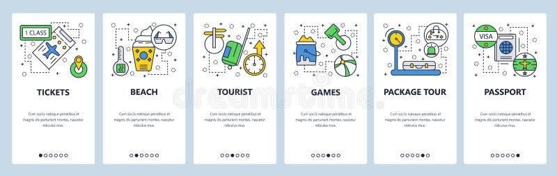Pantallas onboarding del sitio web Vacaciones del viaje y de la playa, pasaporte, visa, boletos Plantilla de la bandera del vecto stock de ilustración