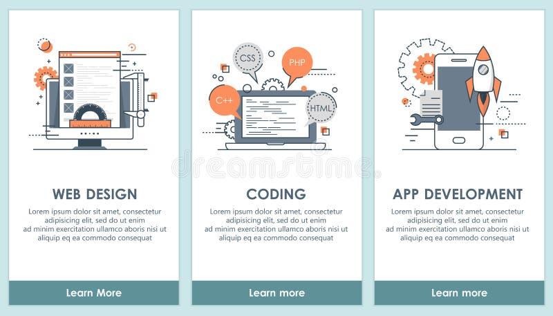 Pantallas planas del app de la programación y del software del diseño Interfaz de usuario moderna UX, plantilla de la pantalla de libre illustration
