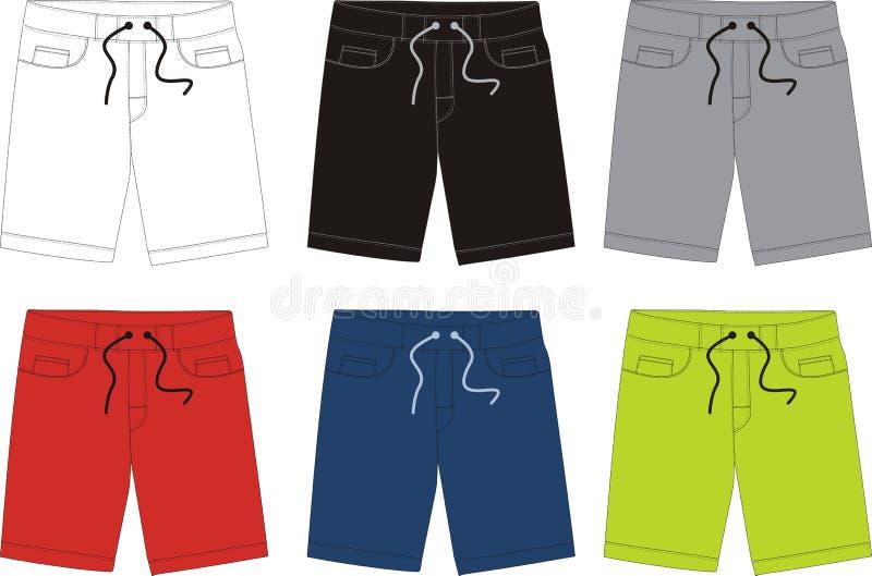 Pantalon court de vecteur pour les hommes 001 illustration stock
