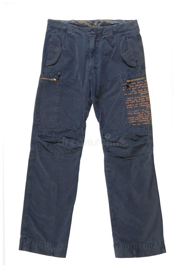 Pantalones azules en el fondo blanco /Isolated. imagenes de archivo