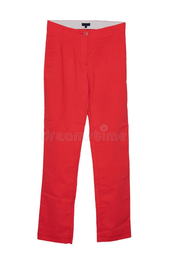 Pantalones casuales de Women's Pantalones rojos femeninos elegantes para mujer en el fondo blanco aislado imagen de archivo