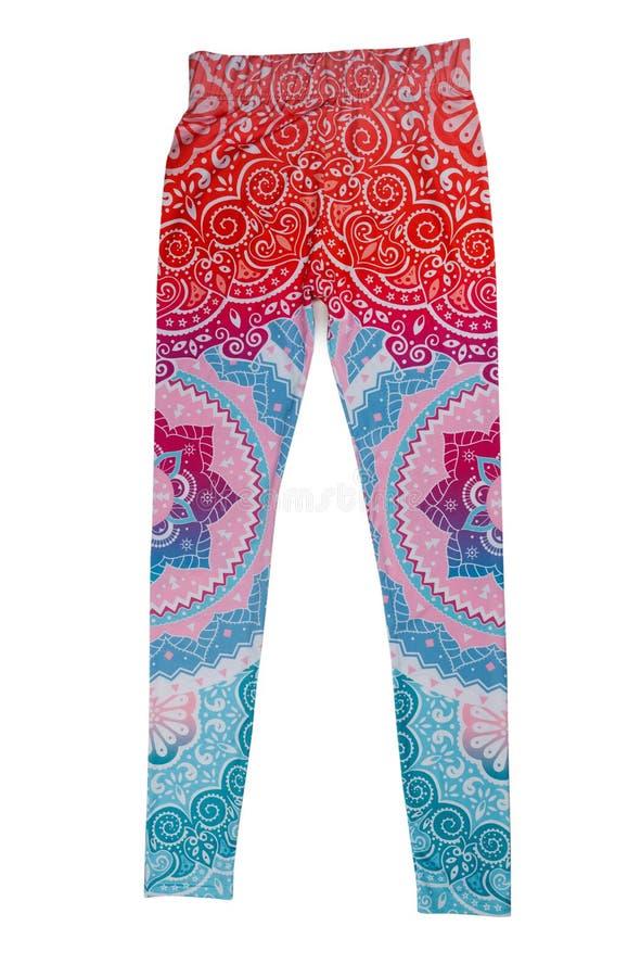 Pantalones coloreados para la yoga Aislante en blanco imagen de archivo