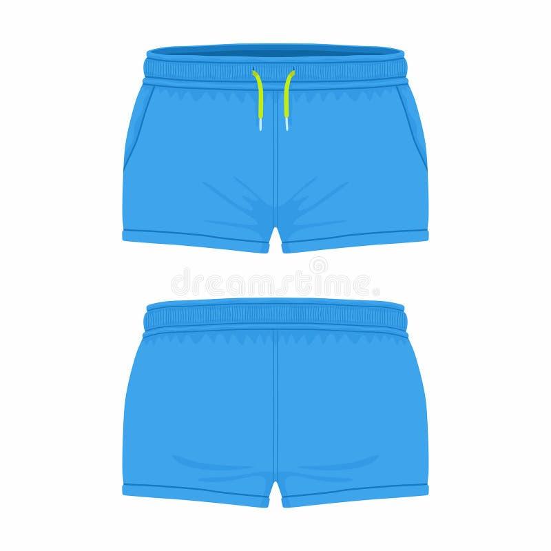 Pantalones cortos azules del deporte del ` s de las mujeres ilustración del vector