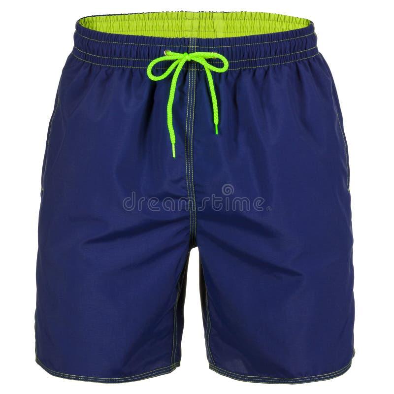 Pantalones cortos de los azules marinos y de los hombres verdes para nadar foto de archivo