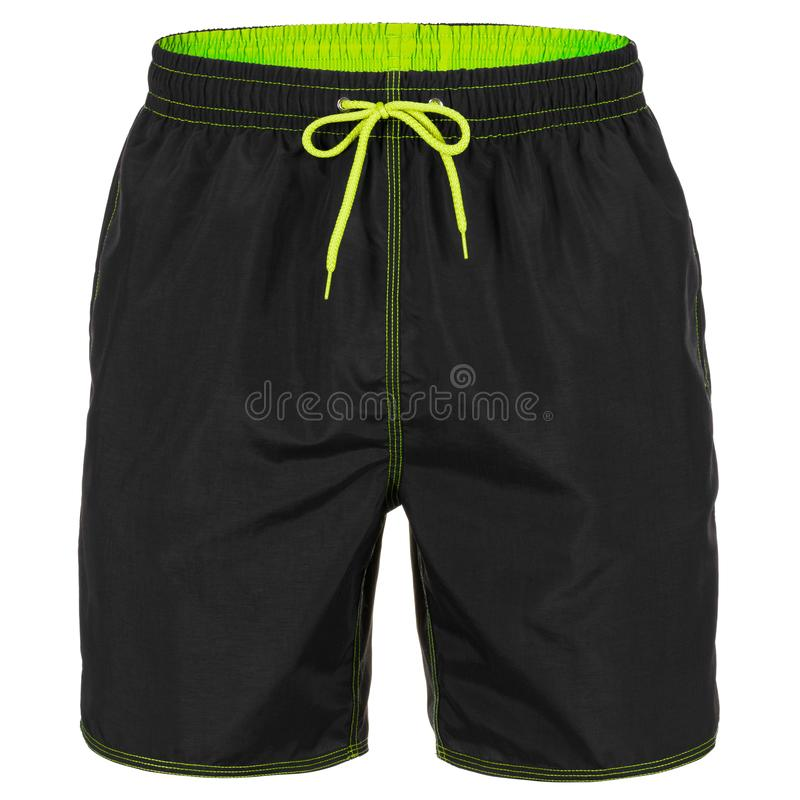 Pantalones cortos de los hombres negros y verdes para nadar fotos de archivo libres de regalías