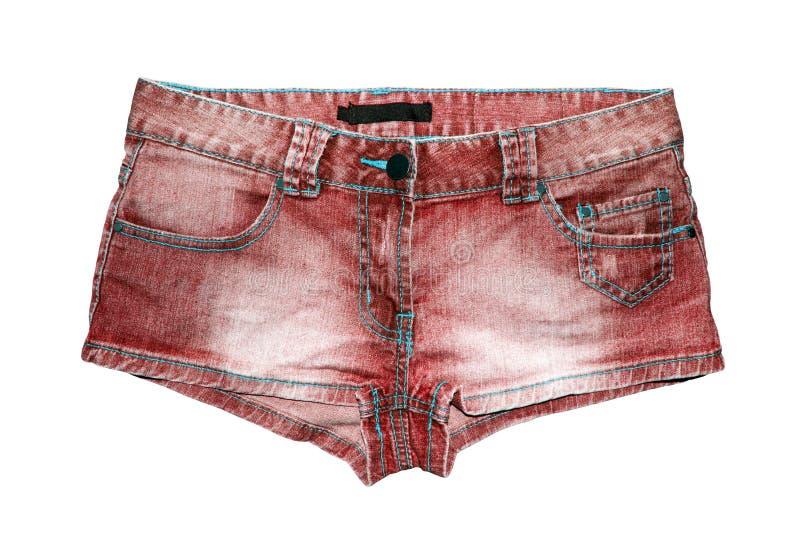 Pantalones cortos del dril de algodón de las mujeres en el fondo blanco fotos de archivo libres de regalías