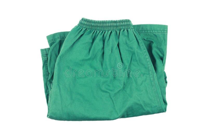 pantalones cortos del plegamiento verde aislados en blanco imágenes de archivo libres de regalías