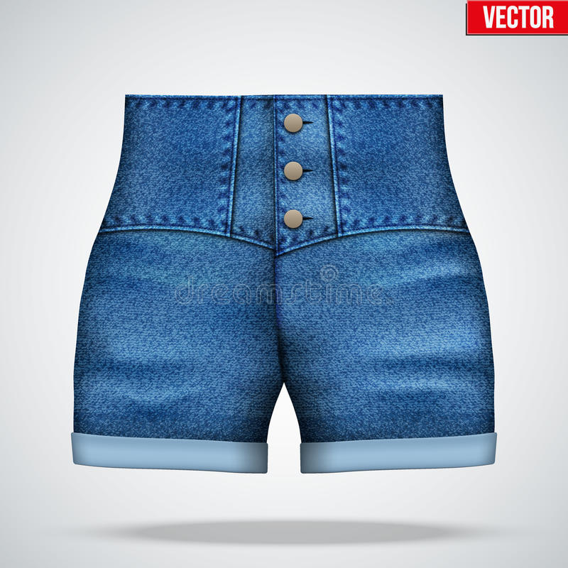 Pantalones cortos elegantes del dril de algodón de la cintura alta libre illustration