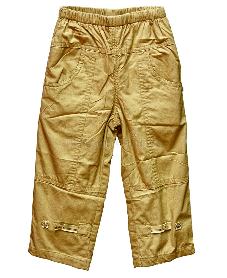 Pantalones de color caqui aislados en blanco fotografía de archivo