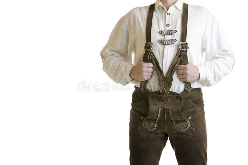 Pantaloni di cuoio bavaresi/Lederhose fotografie stock