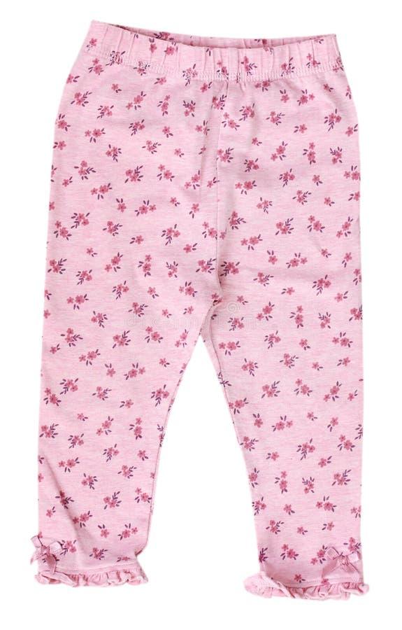 Pantaloni rosa delle ghette del bambino isolati fotografia stock