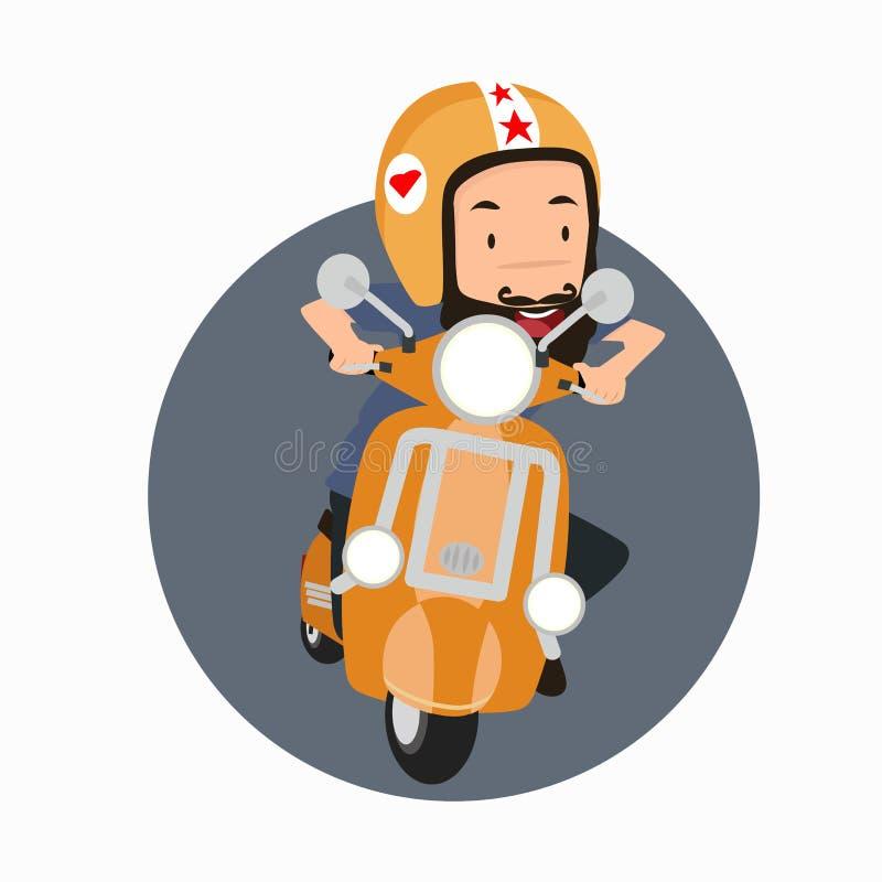Pantaloni a vita bassa barbuti dell'uomo che guidano una motocicletta royalty illustrazione gratis