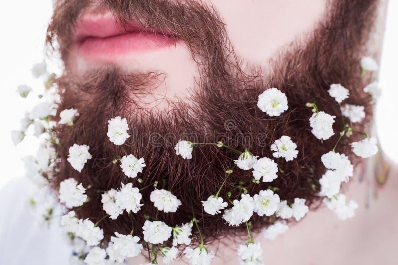 Pantaloni a vita bassa con la barba ed i fiori lunghi immagine stock