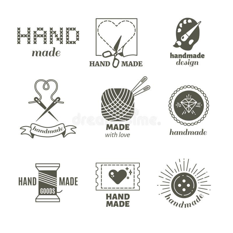 Pantaloni a vita bassa d'annata fatti a mano, acconciatura, distintivi di vettore del lavoro manuale, etichette, logos illustrazione di stock