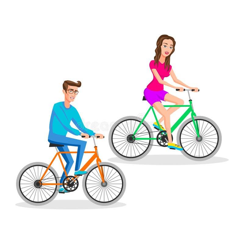 Pantaloni a vita bassa donna e bicicletta di guida dell'uomo, ciclista, in buona salute, veicolo, sport, stile di vita Illustrazi illustrazione di stock