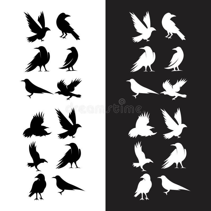Pantaloni a vita bassa neri di logo del corvo del corvo royalty illustrazione gratis