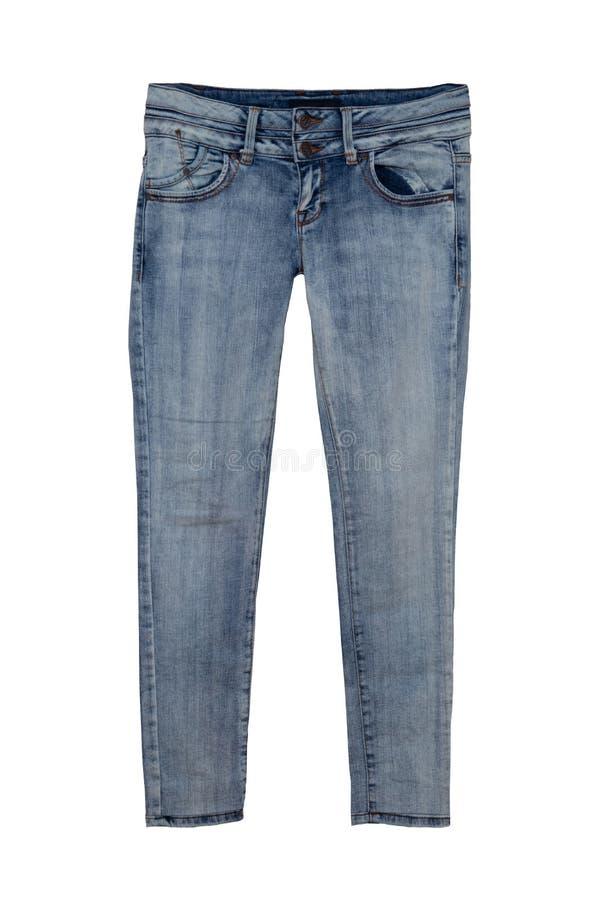 Pantalons de blues-jean d'isolement sur le fond blanc Pantalon à la mode de denim pour la femme Front View photographie stock