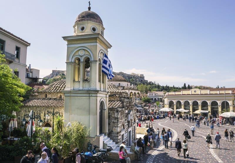 Pantanassakerk op Monastiraki-Vierkant in Athene, Griekenland stock foto