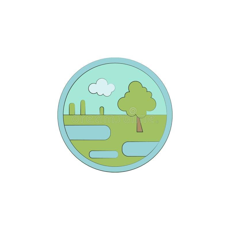 Pantano coloreado en icono del círculo Elemento del paisaje coloreado en el icono del círculo para los apps móviles del concepto  ilustración del vector