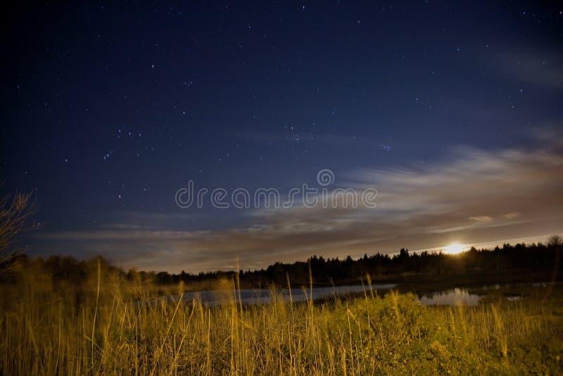 Pantano del agua salada bajo las estrellas y la luna fotos de archivo libres de regalías