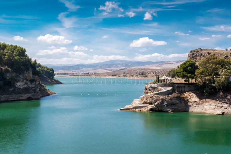 Lake near Ardales in Malaga. Pantano located in Ardales, which Alfonso XIII visited, was built so that floods in Málaga would not happen again like that of stock images