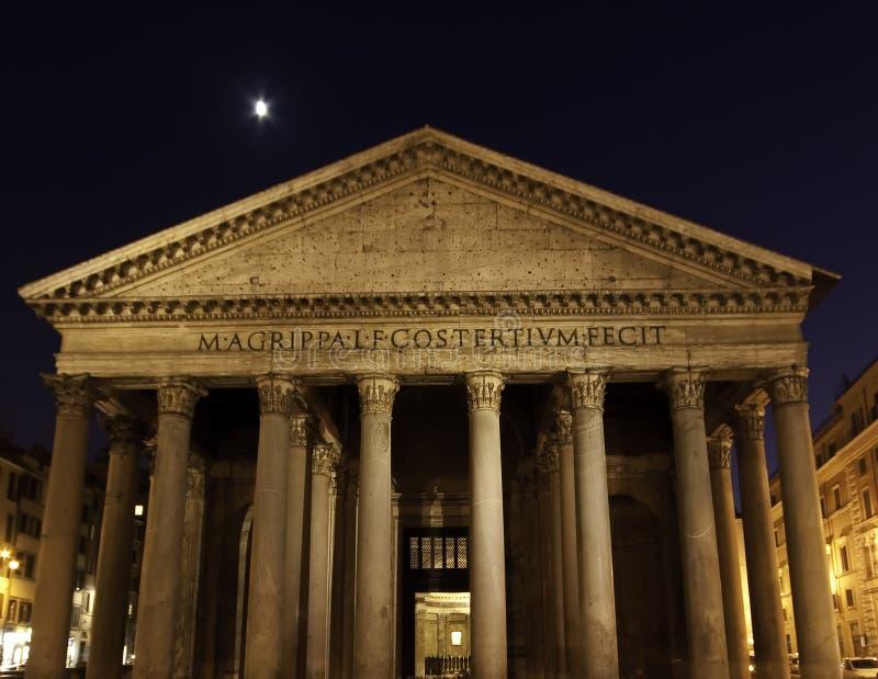 Panteon alla notte, Roma immagine stock libera da diritti