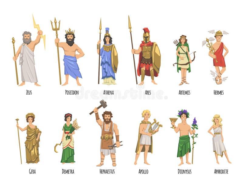Panteon av gammalgrekiskagudar, mytologi Uppsättning av tecken med namn Plan vektorillustration På white stock illustrationer