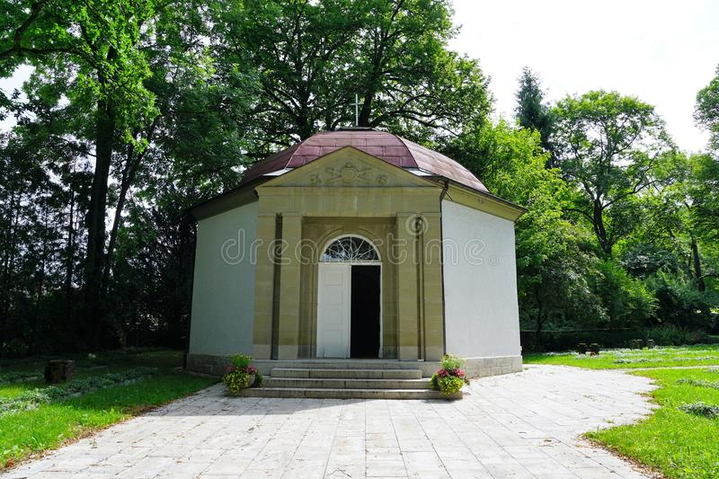 Panteon at cemetery by crematorium in tuttlingen. At danube in south germany royalty free stock photo