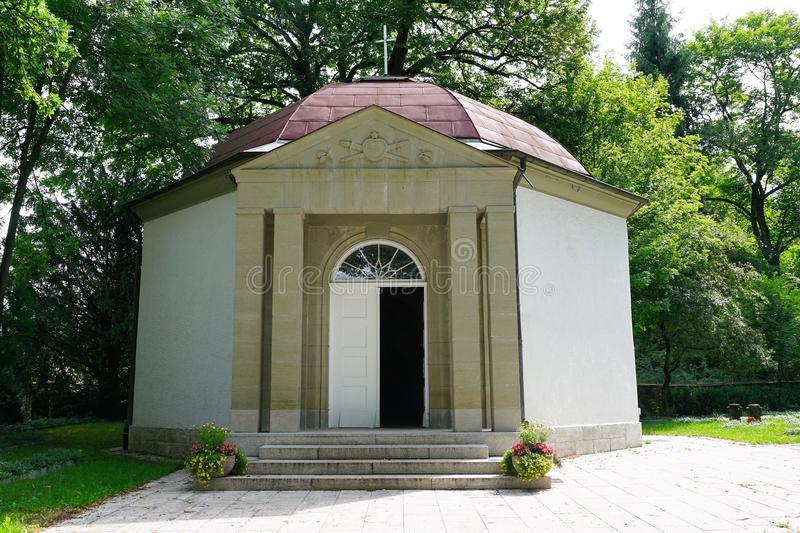 Panteon at cemetery by crematorium in tuttlingen. At danube in south germany royalty free stock photos