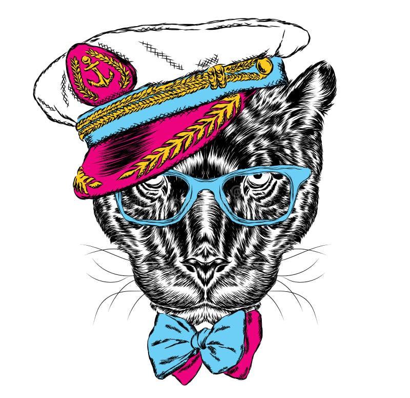Panter in de kapitein ` s GLB stock illustratie