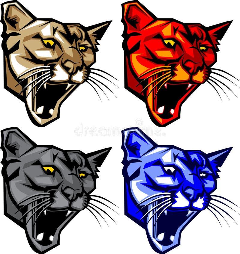 panter för pumalogomaskot royaltyfri illustrationer