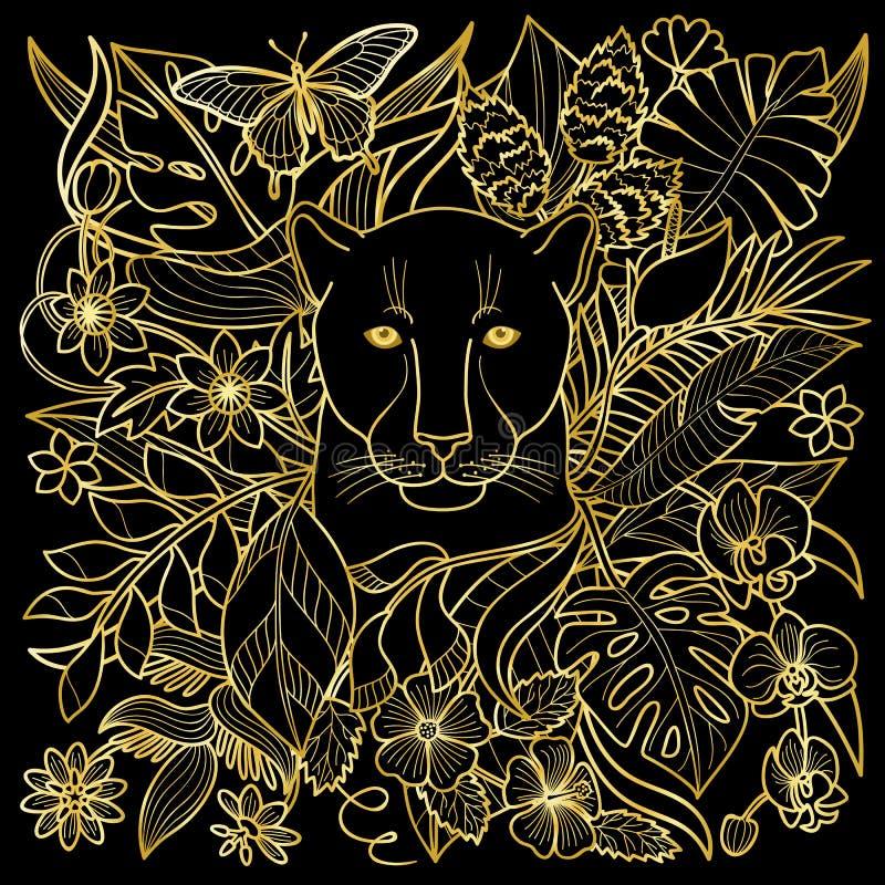 Panter Gouden Patroon royalty-vrije illustratie