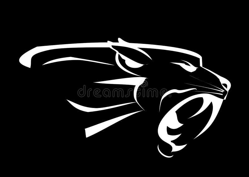 panter Oförskräckt panter Rytande rovdjur Rytande panter stock illustrationer