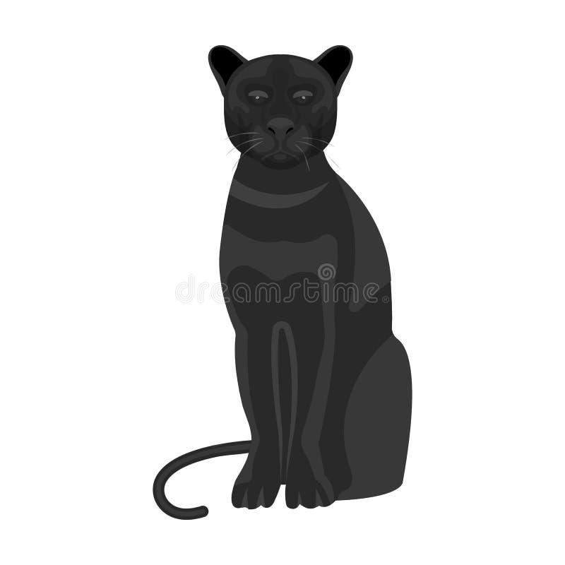 Panter rov- djur Pantera enkel symbol för lös katt i monokrom rengöringsduk för illustration för materiel för stilvektorsymbol royaltyfri illustrationer