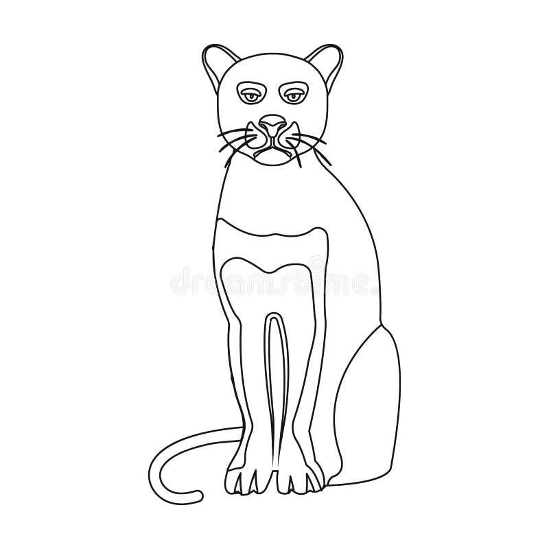 Panter rov- djur Pantera enkel symbol för lös katt i rengöringsduk för illustration för materiel för symbol för översiktsstilvekt royaltyfri illustrationer