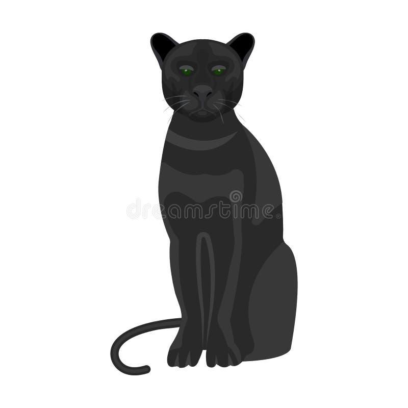 Panter rov- djur Pantera enkel symbol för lös katt i rengöringsduk för illustration för materiel för symbol för tecknad filmstilv vektor illustrationer
