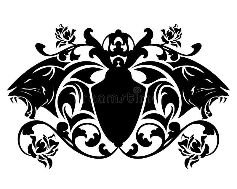 Panter vectorembleem - zwarte dierlijke hoofden en heraldisch schild stock illustratie