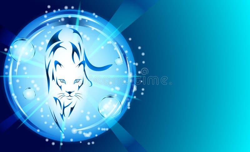 Pantera com efeitos da luz azuis ilustração stock