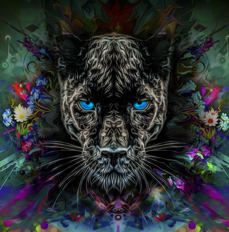 Pantera con los ojos azules ilustración del vector