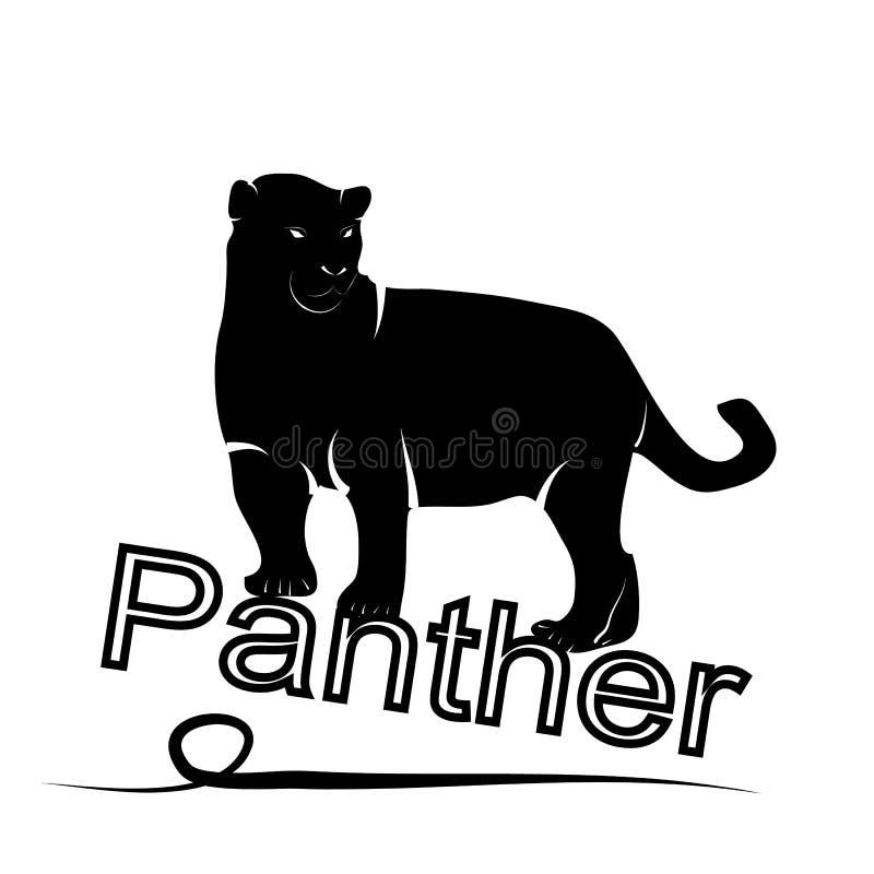 Pantera exótica Logotipo da silhueta em um fundo branco ilustração royalty free