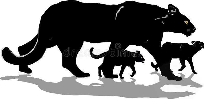 Pantera nera con i cubs immagini stock libere da diritti