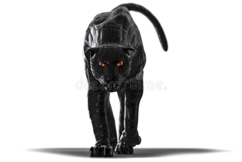 A pantera preta de vista má do cyborg com incandescência vermelha eyes o passeio para a câmera fotografia de stock royalty free