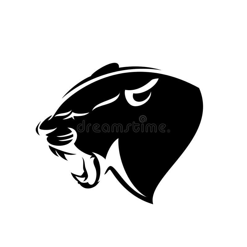 Pantera profilu głowy czarny i biały wektorowy emblemat royalty ilustracja