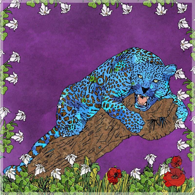 Pantera que senta-se no tronco ilustração do vetor